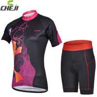 High Quality  2014 CheJi Cycling Jerseys Short set  Quick Dry Polyester From Korea  Bike Sports Wear Ciclsimo Clothing For Women