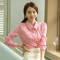 2014 new fashion women's work wear long-sleeve stripe slim button casual tops blouse basic shirt plus size female shirt