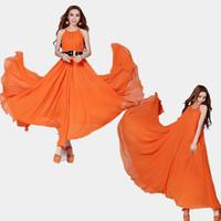 Fashion Summer Girl Dresses Chiffon Sexy Elegant Chiffon Sleeveless Slim Plus Size 10 Colors With Sashes Women's Dress 835#