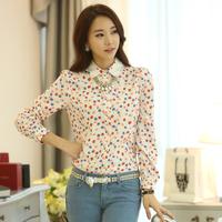 2014 spring new Korean fashion women's slim chiffon printed long-sleeved shirt collar doll casual ladies office blouses