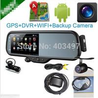 Android system  car Rearview Mirror 5 Inch HD GPS Navigator+ Bluetooth headset+AV+(DVR+Reverse camera, dual camera)