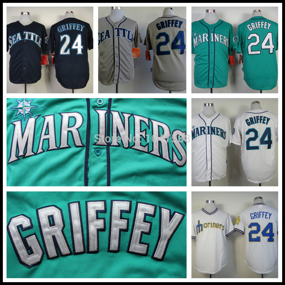 Ken Griffey Jersey,Cheap Seattle Mariners 24# Baseball Jersey,Authentic Stitched,COOL BASE,Blue Green White(China (Mainland))