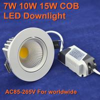 5 pcs/lot high quality 7W 10W 15W cob led downlight 30 degree rotating body LED Spot light led ceiling lamp