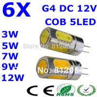 6 pcs/lot free shipping High power G4 cob lamp 3W 5w 7W 9W 12W led bulb MR16 spotlight DC 12V Dim lighting