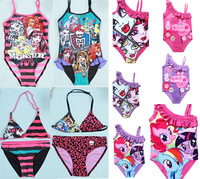 Retail Free Shipping  6-12T Brand New Kids Girls Swimwear 2color Girls Beach Swimsuit Cartoon Design Monster High Swimwear