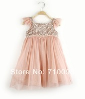 5pieces/lot, Summer Flying Sleeve Pink Kids Girls Sequin Dress Children clothing, A-bg255