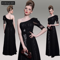DORISQUEEN  MOQ 1 pc ready to wear new arrival a line floor length one shoulder sexy long evening dress 2014