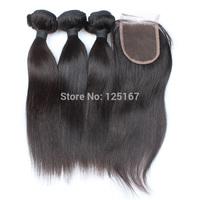2014 real brazilian closure 100% human hair 4*4 tope closure + 3pcs weave cambodian/brazillian straight virgin lace with bundles