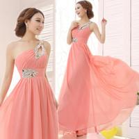 Cheap Evening Dress 2014 Fashion Sexy Chiffon Crystal One Shoulder Long  Wedding Party Dress Bride Prom Dress Plus Size Custom
