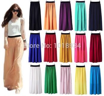 Женщины Double Layer Шифон Pleated Retro Длинный Maxi Dress Elastic Талия Skirt