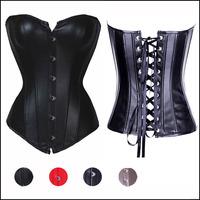 S-6XL Leather Corpetes Corselet e Espartilhos Women Body Shapewear Lingerie Gothic Corsage Sexy Waist Training Corsets Top