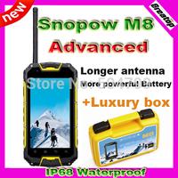100% Original Quad core Snopow M8 ip68 waterproof phone Android 4.2 GPS 3G PTT Walkie talkie phone luxury box SG Free Shipping