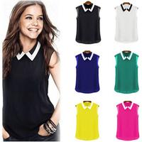 New 2015 Spring Summer Fashion Blusinhas Peter Pan Collar Slim Sleeveless Women Blouse Chiffon Blusas Femininas C603