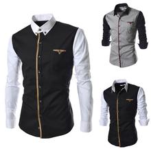 2014 spring Mens patchwork casual long-sleeve shirt cotton slim dress fashion men's shirt size M-XXXL(China (Mainland))