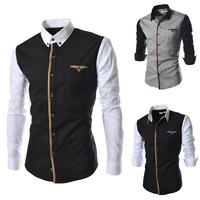 2014 spring Mens patchwork casual long-sleeve shirt cotton slim dress fashion men's shirt size M-XXXL