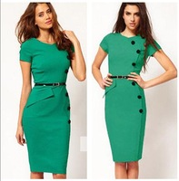 Free shipping burst models in Europe and America spring 2014 women dress,new 2014 button Slim fashion dress women