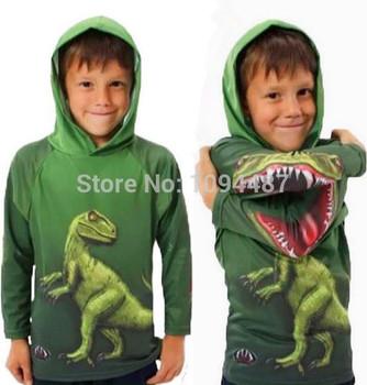 3D футболки для детей хлопка с длинным рукавом с капюшоном мальчики и девочки очень крутой динозавров и боа дети футболки 3D для возраста 3-11 лет