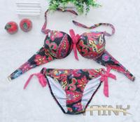 2014 new fashion European American vintage nation gorgeous pattern sexy women bikinis set swimsuit swimwear V8038