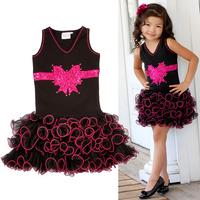 Baby girl bow dress 0-6 years old 2014 Summer Kids  sleeveless Cake girl dress princess flower girl dresses for weddings