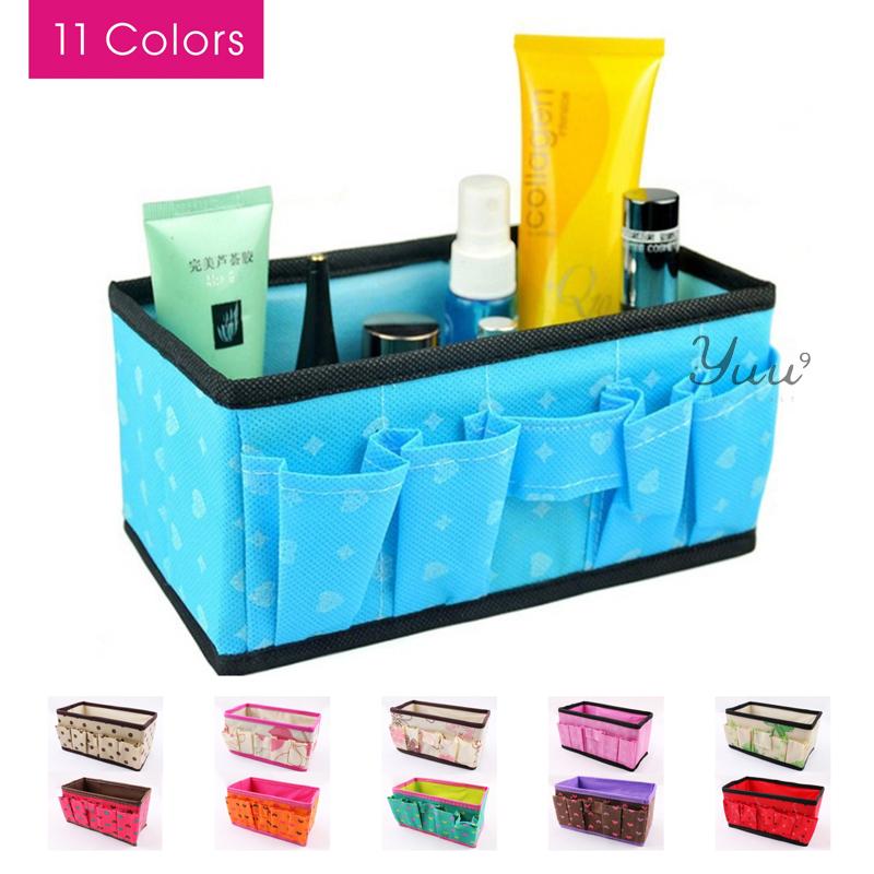 Yuu 2014 New Women's Beautician Desktop Organizer Bags Traveling Bag Cosmetic Cases Makeup Bag 11 Colors Free Shipping(China (Mainland))