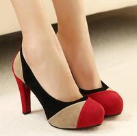women pumps new 2014 summer color block decoration platform thick heel fashion women's shoes sexy red wedding pumps @