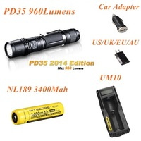 Fenix PD35 Cree XM-L 2 (U2) LED 6 Mode Max 960 Lumens Waterproof  Torch Flashlight+Nitecore NL189+UM10 Charger + Free Shipping