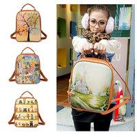 2014 fashion women print backpack small female bag PU backpack leather school bag women preppy style