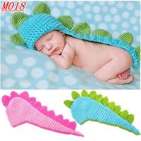 M018-The New Baby  animal Dinosaur cap Newborn Photography Prop Handmade Crochet  Baby gift free shipping