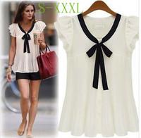 Cheap blusa 2014 Summer Blusas Femininas Ruffle Sleeve Bow White Chiffon Shirts Tops Korean Woman ladies vintage clothes S-XXXL