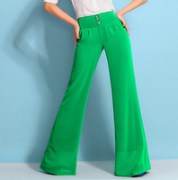 New  2014 Brand Wide Leg Chiffon Causal  Green Color Large Sizes xxxl High Quality Ladies Trousers Women's Clothing