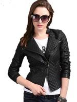 Jakets Women Free Shipping, Short Slim Thin Korean Double Layer Collar Long Sleeve Plaid Ladies' leather Jackets M-L-XL-2XL-3XL