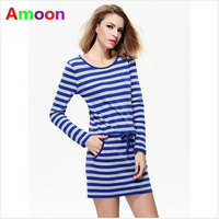 Amoon / Women Girl 2014 New Autumn Casual Striped Western Pocket Preppy Cotton Dress 110/ Free Shipping / 3 Size / Full Sleeve