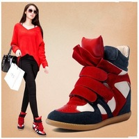 2014 women sneakers Genuine Leather Size 35~41 Heel 7cm Red+Black boots Height Increasing women's shoes