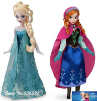 Free Shipping 2014 Hot Sale Frozen Girls 11.5 inches Frozen Queen Elsa Princess ,Anna Doll Platic Doll 2pcs Set