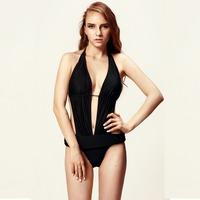 Women's Monokini Lady Sexy Beachwear Padded Swimwear Swimsuit Bikini Bathing Suit V Neck Ties Top With Foldover Boyleg Bottom