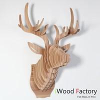 iWood  Deer Head Wall Hangings Euro Style Home Decor Diy Wall Sculptures Ash