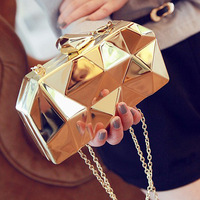 2014 new fashion geometric three-dimensional metal chain ladies handbag evening bag day clutches mini wedding party bag