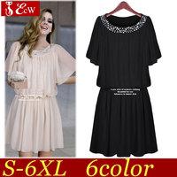 women chiffon dresses 2014 spring summer new fashion slim solid pleated dress casual vintage dress plus size 3XL 4XL 5XL 6XL