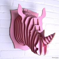 iWood  Rhinho Wall Hangings Euro Style Home Decor Diy Wall Sculptures Pink