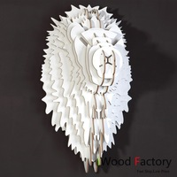 iWood  Lion Wall Hangings Euro Style Home Decor Diy Wall Sculptures White
