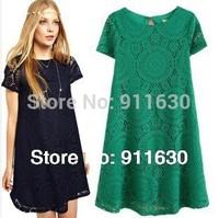 S,M,L,XL 2014 new fashion European American big yards dress short sleeve lace bottom plus size vintage autumn winter dress