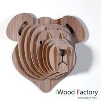 iWood  Bear Wall Hangings Euro Style Home Decor Diy Wall Sculptures Walnut
