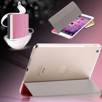 New Luxury Silk Lines Leather Case For ipad 5 Air For Ipad Mini Slim Light Three Fold Transparent Clear Cover RCD03739