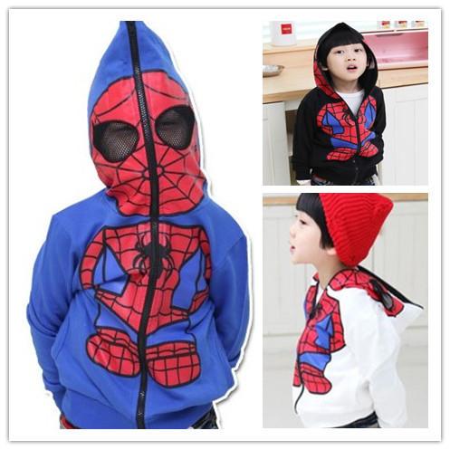 4T~15age boy outwear Spider-Man Spring 2014 new cartoon baby long sleeve hooded zipper jacket Kids(China (Mainland))
