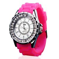 Fashion & Casual Women Dress Watches, 30m Waterproof Luminous Analog Quartz Rhinestone Silicone Jelly Watch Student Wristwatch