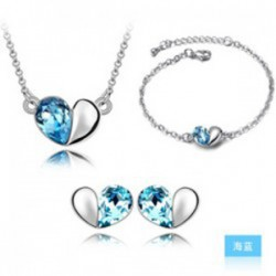 Free Shipping Factory Sales Wholesales 18K GP Austrian Element Crystal Heart Pendant Lover OL Style fashion Jewelry Set(China (Mainland))