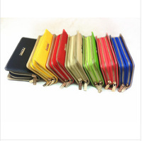 Promotion 11color 2014 High Quality PU Leather women wallets Fashion double zip women clutch wallet with metal logo Ladies purse