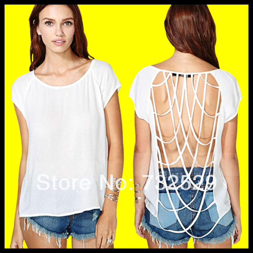 New 2014 Fashion Women's T-shirts Tee Shirts Backless Summer Fashion Chiffon T-shirt Whole Round Collar Top Women Clothing(China (Mainland))