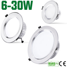 10 pcs/lote, High power energy saving 9 w 12 w 15 w 20 w 30 w led downlight blanc chaud down light pour la maison lampe, Livraison gratuite(China (Mainland))