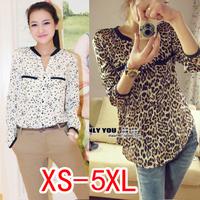 fashion women 2015 women blouse silk floss leopard print shirt women top loose Blouses plus size chiffon shirt XS-5XL